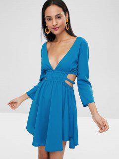 Plunging Neck Cut Out Skater Dress - Blue Eyes L