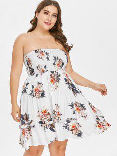 Floral Plus Size Tube Smocked Dress - White 4x