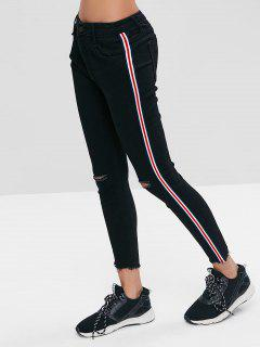 Side Stripe Athletic Skinny Ankle Jeans - Black L