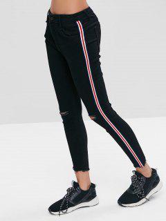 Side Stripe Athletic Skinny Ankle Jeans - Black S