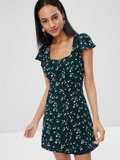 Floral Cap Sleeve Button Front Dress - Medium Sea Green S