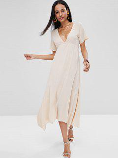 Low Cut A Line Midi Dress - Blanched Almond S