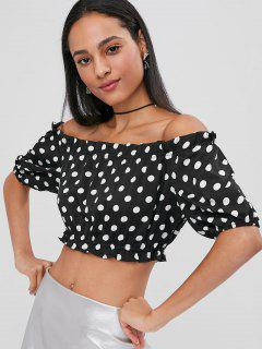 Polka Dot Off Shoulder Top - Black Xl