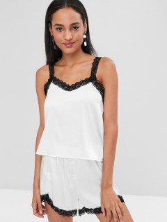 Lace Panel Trim Shorts Set - White S