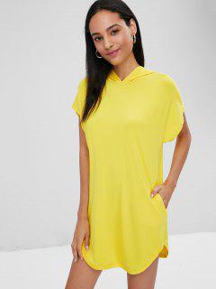Hooded Longline T-shirt - Corn Yellow S