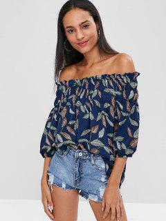 Leaf Print Off The Shoulder Top - Midnight Blue M