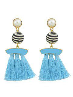 Artifical Pearl Tassels Dangle Earrings - Blue Lagoon