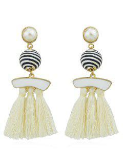Artifical Pearl Tassels Dangle Earrings - Beige