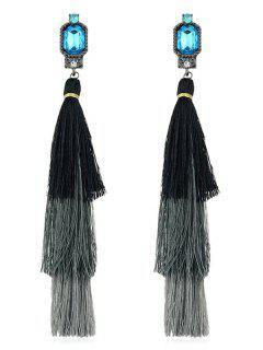 Rhinestone Layer Tassel Drop Earrings - Black