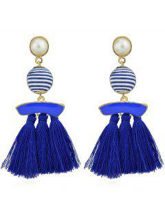 Artifical Pearl Tassels Dangle Earrings - Blue