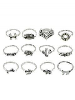 Animal Patterned Alloy Rings Set - Silver One-size