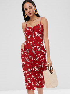 Floral Smocked Button Up Dress - Red L