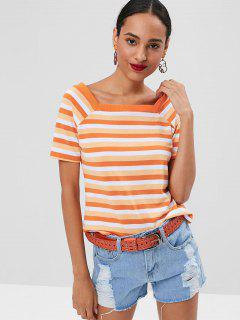 Square Collar Striped T-shirt - Mango Orange L