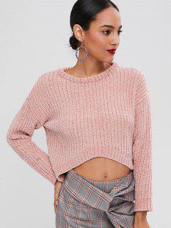 Sweater Haut Bas Tricot Épais - Rose PÂle