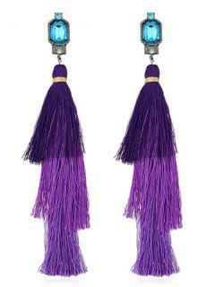 Rhinestone Layer Tassel Drop Earrings - Purple