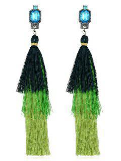 Rhinestone Layer Tassel Drop Earrings - Green