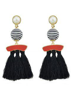 Artifical Pearl Tassels Dangle Earrings - Black