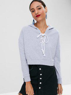 Lace Up Crop Hoodie - Gray L
