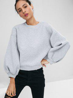 Lantern Sleeve Cut Out Sweatshirt - Gray M
