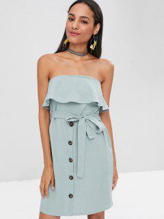 Overlay Buttoned Strapless Dress - Cyan Opaque S