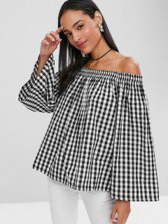 Plaid Off Shoulder Blouse - Black M