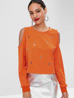Cold Shoulder Eyelet Tee - Orange S