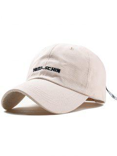 Outdoor Letter Embroidery Hunting Hat - Beige