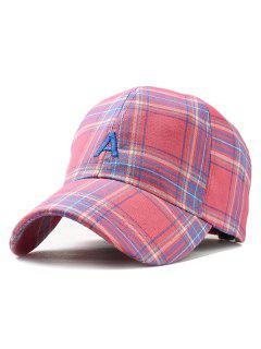 Letter A Embroidery Plaid Snapback Hat - Rose Red