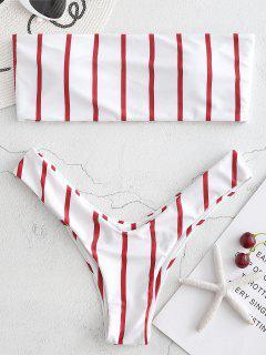 Bikini Bandeau Taille Haute En Ensemble à Rayures  - Rouge Cerise S