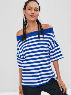 Striped Ribbed Off Shoulder T-shirt - Ocean Blue L