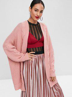 Open Front Cable Knit Cardigan - Light Pink L