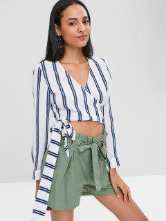 Long Sleeve Striped Wrap Crop Top - Multi S