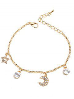 Star Moon Rhinestone Design Bracelet - Gold