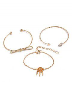 Dreamcatcher Love Heart Design Bracelet Set - Gold