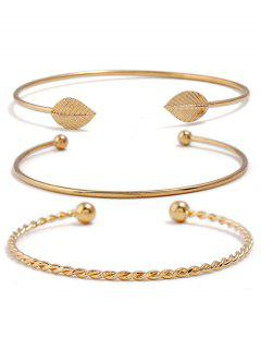 Leaf Design Twist Simple Cuff Bracelet Set - Gold