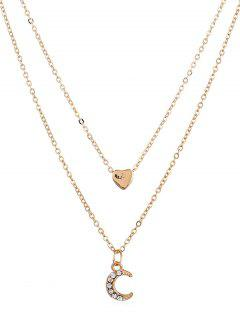 Crescent Moon Heart Shape Layer Pendant Necklace - Gold