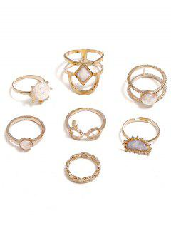 Rhinestone Geometric Decoration Rings Set - Oro Uno De Tamaño