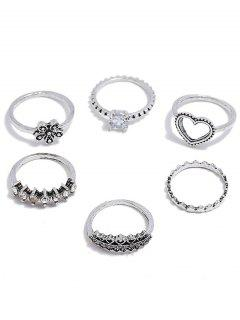 Heart Flower Design Rhinestone Decoration Rings Set - Silver One-size