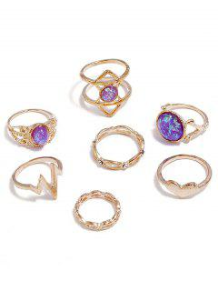 Rhinestone Heart Design Rings Set - Gold One-size