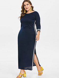 Contrast Trim Plus Size Long Slit Dress - Cadetblue 3x