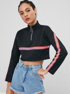Striped High Neck Zipped Cropped Sweatshirt - Black S