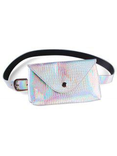 Fanny Pack Decorative Faux Leather Skinny Belt Bag - Silver