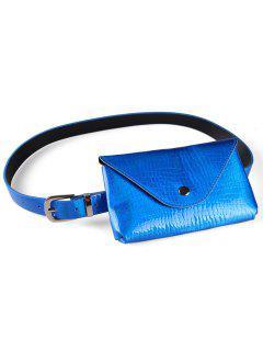 Fanny Pack Decorative Faux Leather Skinny Belt Bag - Blue