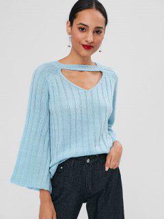 Bell Sleeve Choker Sweater - Robin Egg Blue M