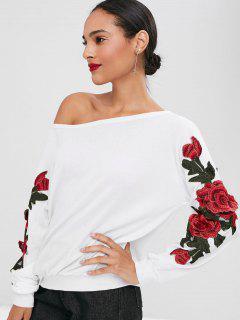 Sudadera Con Cuello Oblicuo De Apliques Florales - Blanco Xl