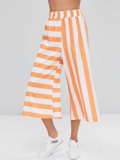 Striped Capri Wide Leg Pants - Tangerine S