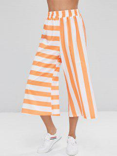 Striped Capri Wide Leg Pants - Tangerine L