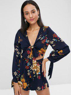 Floral Print Tie Front Long Sleeve Romper - Midnight Blue S