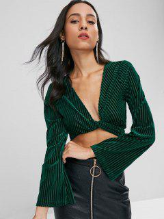 Velvet Knot Long Sleeve Crop Top - Dark Forest Green M