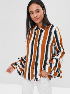 Stripes Buttoned Flare Sleeve Shirt - Multi L